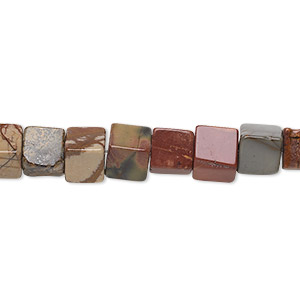 bead, red creek jasper (stabilized), 6x6mm cube, b grade, mohs hardness 6-1/2 to 7. sold per 16-inch strand.