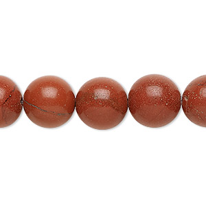 bead, red jasper (natural), 12mm round, b grade, mohs hardness 6-1/2 to 7. sold per 16-inch strand.