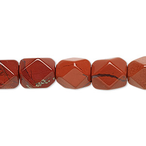 bead, red jasper (natural), medium to large faceted tumbled pebble, mohs hardness 6-1/2 to 7. sold per 16-inch strand.