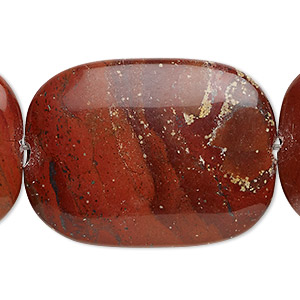 bead, red rainbow jasper (natural), 40x30mm flat pillow, b grade, mohs hardness 6-1/2 to 7. sold per 16-inch strand.
