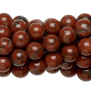 bead, red sesame jasper (natural), 8mm round, c grade, mohs hardness 6-1/2 to 7. sold per pkg of (10) 16-inch strands.