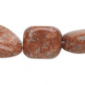 bead, red sesame jasper (natural), medium to large nugget, mohs hardness 6-1/2 to 7. sold per 15-inch strand.
