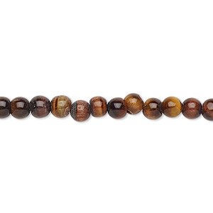 bead, red tigereye (heated), 4-5mm hand-cut uneven round, c grade, mohs hardness 7. sold per 13-inch strand.