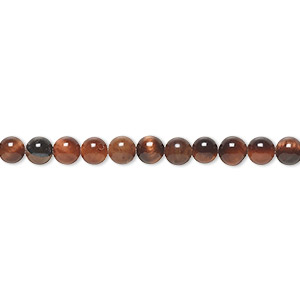 bead, red tigereye (heated), 4mm round, b grade, mohs hardness 7. sold per 16-inch strand.