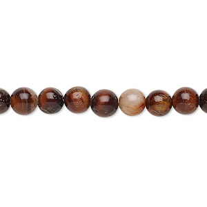 bead, red tigereye (heated), 6-7mm round, c grade, mohs hardness 7. sold per 15-inch strand.