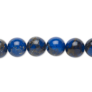 bead, resin and multi-stone (dyed / assembled), lapis blue and brown, 10mm round. sold per 8-inch strand, approximately 20 beads.