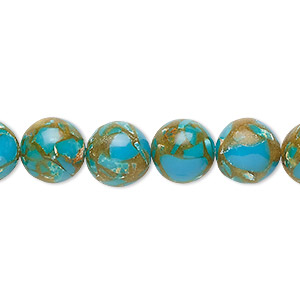 bead, resin and multi-stone (dyed / assembled), turquoise blue / brown / white, 10mm round. sold per 8-inch strand, approximately 20 beads.