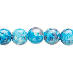 bead, resin and painted ceramic, blue / white / grey, 10mm puffed flat round. sold per 16-inch strand.