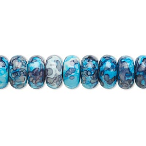 bead, resin and painted ceramic, blue / white / grey, 10x5mm rondelle. sold per 16-inch strand.
