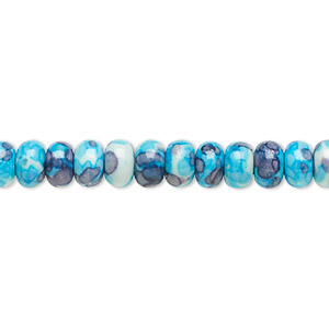 bead, resin and painted ceramic, blue / white / grey, 6x4mm rondelle. sold per 16-inch strand.