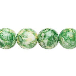 bead, resin and painted ceramic, green / white / yellow, 12mm round. sold per 16-inch strand.