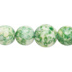 bead, resin and painted ceramic, green / white / yellow, 6-14mm graduated round. sold per 16-inch strand.