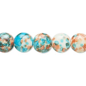 bead, resin and painted ceramic, orange / blue / white, 10mm puffed flat round. sold per 16-inch strand.
