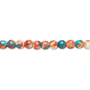 bead, resin and painted ceramic, orange / blue / white, 4mm round. sold per 16-inch strand.