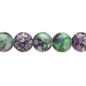 bead, resin and painted ceramic, purple / green / white, 10mm puffed flat round. sold per 16-inch strand.