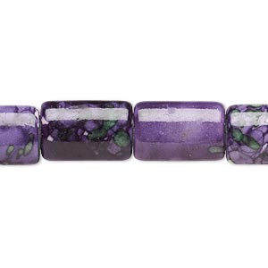 bead, resin and painted ceramic, purple / green / white, 15x10mm puffed rectangle. sold per 16-inch strand.