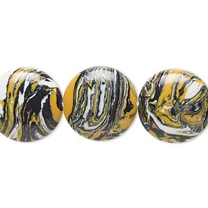 bead, resin, black / white / dark yellow, 16mm flat round. sold per 16-inch strand.
