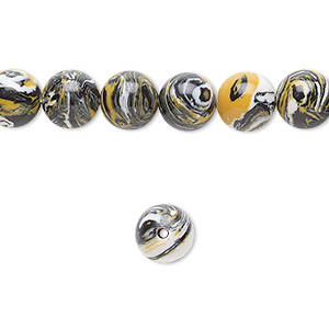 bead, resin, black / white / dark yellow, 8mm round. sold per 16-inch strand.