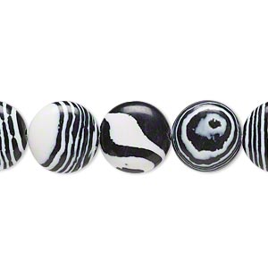 bead, resin, black and white, 12mm flat round. sold per 16-inch strand.