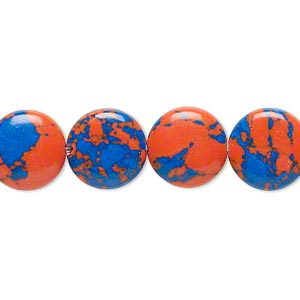 bead, resin, dark blue and orange, 12mm flat round. sold per 16-inch strand.