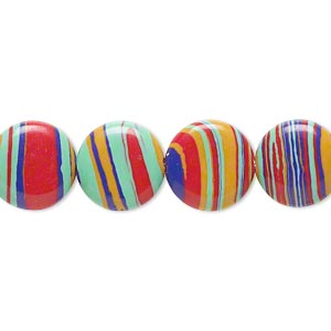 bead, resin, multicolored, 12mm flat round with swirls. sold per 16-inch strand.