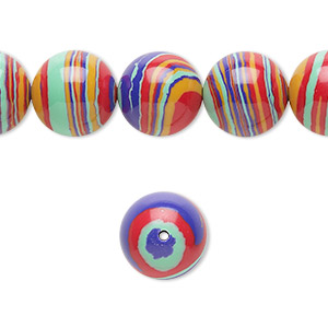 bead, resin, multicolored, 12mm round with swirls. sold per 16-inch strand.