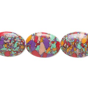 bead, resin, multicolored, 18x13mm flat oval with mosaic design. sold per 16-inch strand.