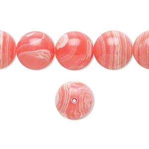 bead, resin, white and pink, 12mm round. sold per 16-inch strand.