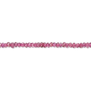 bead, rhodolite garnet (dyed), 2x1mm-3x2mm hand-cut faceted rondelle, c+ grade, mohs hardness 7 to 7-1/2. sold per 12-inch strand.