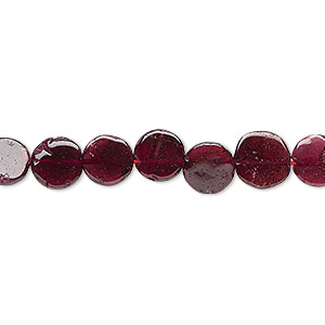 bead, rhodolite garnet (dyed), 6-7mm hand-cut flat round, c grade, mohs hardness 7 to 7-1/2. sold per 14-inch strand.