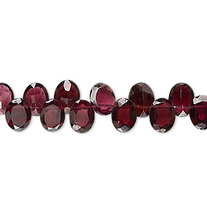 bead, rhodolite garnet (dyed), 8x6mm hand-cut top-drilled faceted domed oval, b+ grade, mohs hardness 7 to 7-1/2. sold per 4-inch strand.