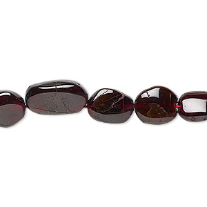 bead, rhodolite garnet (dyed), 8x7mm-13x10mm graduated hand-cut uneven puffed oval, c+ grade, mohs hardness 7 to 7-1/2. sold per 13-inch strand.