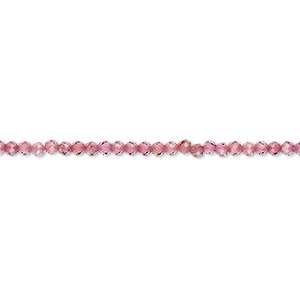 bead, rhodolite garnet (natural), 2mm hand-cut faceted rondelle, b+ grade, mohs hardness 7 to 7-1/2. sold per 12-inch strand.