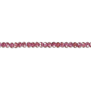 bead, rhodolite garnet (natural), 3x2mm faceted rondelle with 0.5-1.5mm hole, a- grade, mohs hardness 7 to 7-1/2. sold per 16-inch strand.
