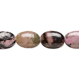 bead, rhodonite (natural), 14x10mm puffed oval, b grade, mohs hardness 5-1/2 to 6-1/2. sold per 16-inch strand.