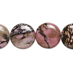 bead, rhodonite (natural), 16mm puffed flat round, b grade, mohs hardness 5-1/2 to 6-1/2. sold per 16-inch strand.
