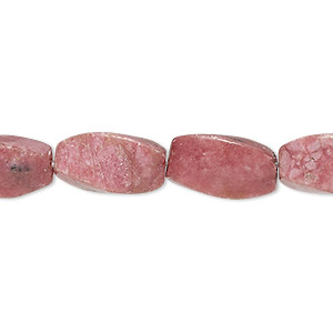 bead, rhodonite (natural), 16x8mm 4-sided twisted oval, b- grade, mohs hardness 5-1/2 to 6-1/2. sold per 16-inch strand.