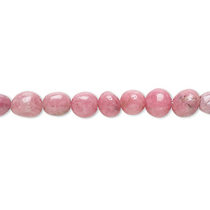 bead, rhodonite (natural), small to medium hand-cut pebble, mohs hardness 5-1/2 to 6-1/2. sold per 8-inch strand.