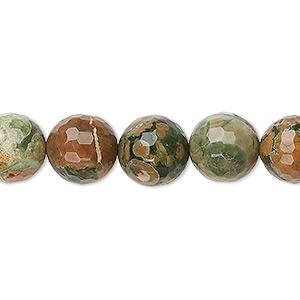 bead, rhyolite (natural), 10mm faceted round, b+ grade, mohs hardness 6 to 6-1/2. sold per 16-inch strand.