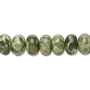 bead, rhyolite (natural), 10x6mm smooth rondelle, b grade, mohs hardness 6 to 6-1/2. sold per 16-inch strand.