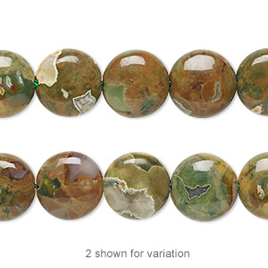 bead, rhyolite (natural), 12mm flat round, b grade, mohs hardness 6 to 6-1/2. sold per 16-inch strand.