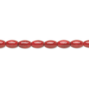 bead, riverstone (dyed), beet red, 6x4mm oval, b grade, mohs hardness 3-1/2. sold per 16-inch strand.