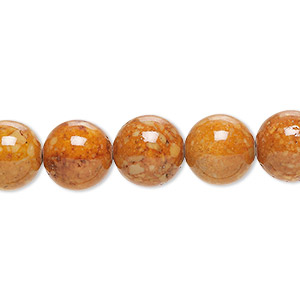 bead, riverstone (dyed), brown, 10mm round, b grade, mohs hardness 3-1/2. sold per 16-inch strand.