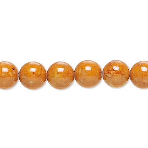 bead, riverstone (dyed), brown, 8mm round, b grade, mohs hardness 3-1/2. sold per pkg of (2) 16-inch strands.