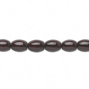 bead, riverstone (dyed), dark red, 8x6mm oval, b grade, mohs hardness 3-1/2. sold per 16-inch strand.