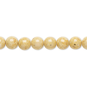 bead, riverstone (dyed), light brown, 6mm round, b grade, mohs hardness 3-1/2. sold per pkg of (2) 16-inch strands.