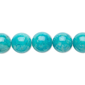 bead, riverstone (dyed), turquoise blue, 10mm round, b grade, mohs hardness 3-1/2. sold per 16-inch strand.