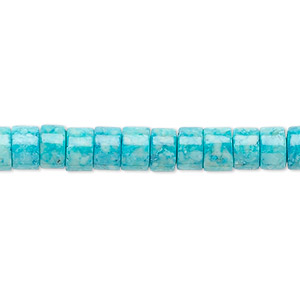 bead, riverstone (dyed), turquoise blue, 6x4mm rondelle, b grade, mohs hardness 3-1/2. sold per 16-inch strand.