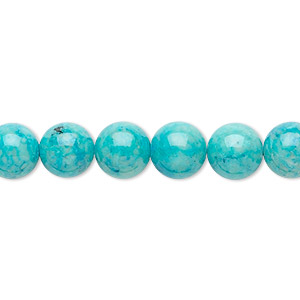 bead, riverstone (dyed), turquoise blue, 8mm round, b grade, mohs hardness 3-1/2. sold per pkg of (2) 16-inch strands.