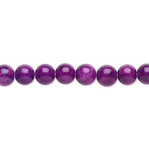 bead, riverstone (dyed), violet, 6mm round, b grade, mohs hardness 3-1/2. sold per pkg of (2) 16-inch strands.